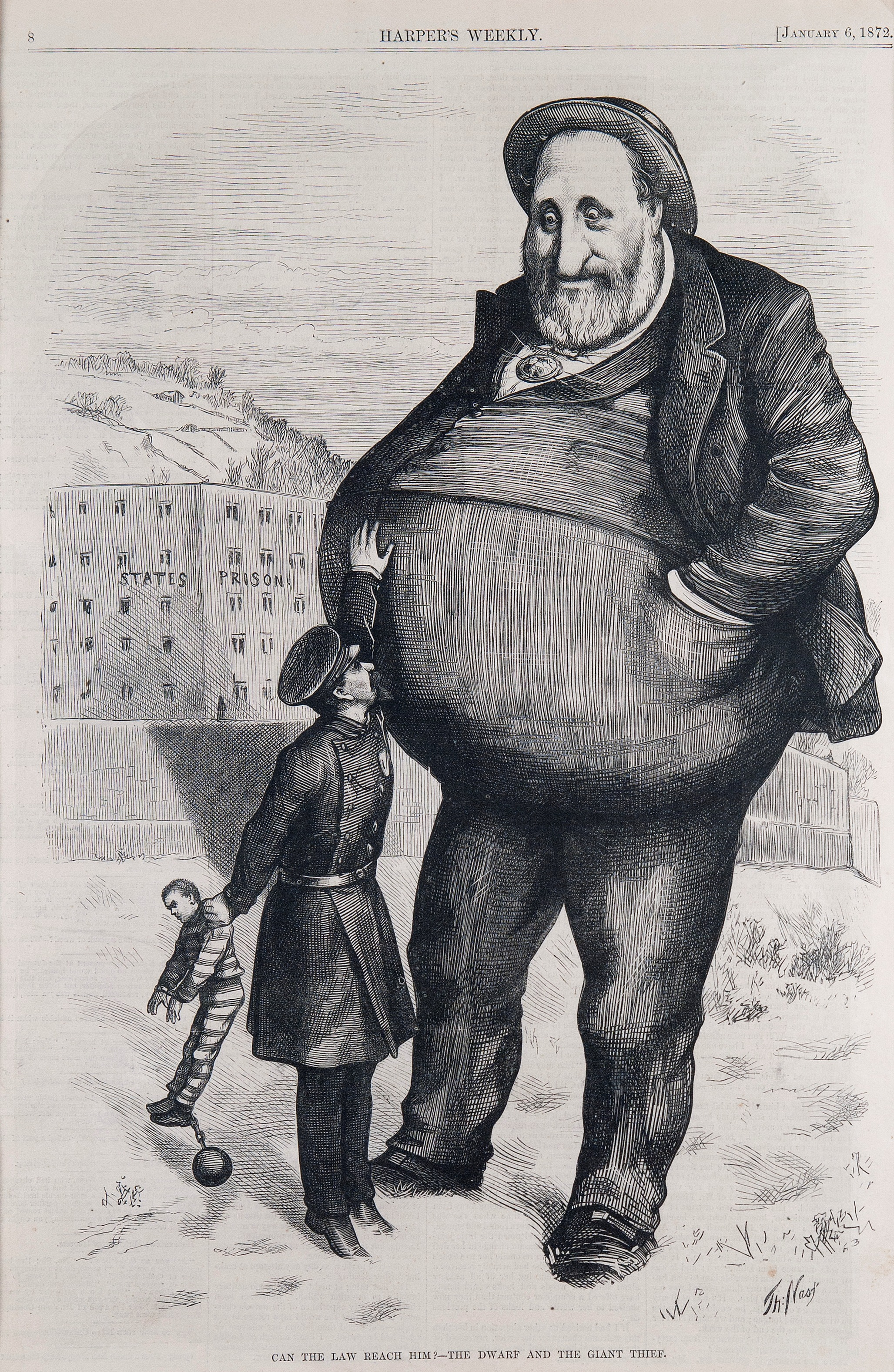 """In this political cartoon Nast depicts a child sized police officer with a captured thief in his left hand, struggling to reach for larger than life Boss Tweed with his right. Tweed, the corrupt head of the New York City Democratic Party, is centerfold, looking down on the officer with amusement, hands casually tucked in his pockets as the officer strains to reach Tweed's midsection. In the background is the """"State Prison,"""" looking much too small to hold the giant Tweed. With this cartoon Nast warns that Tweed's gowing political corruption and power can imbue him with an untouchable gift, making it impossible to take him down."""