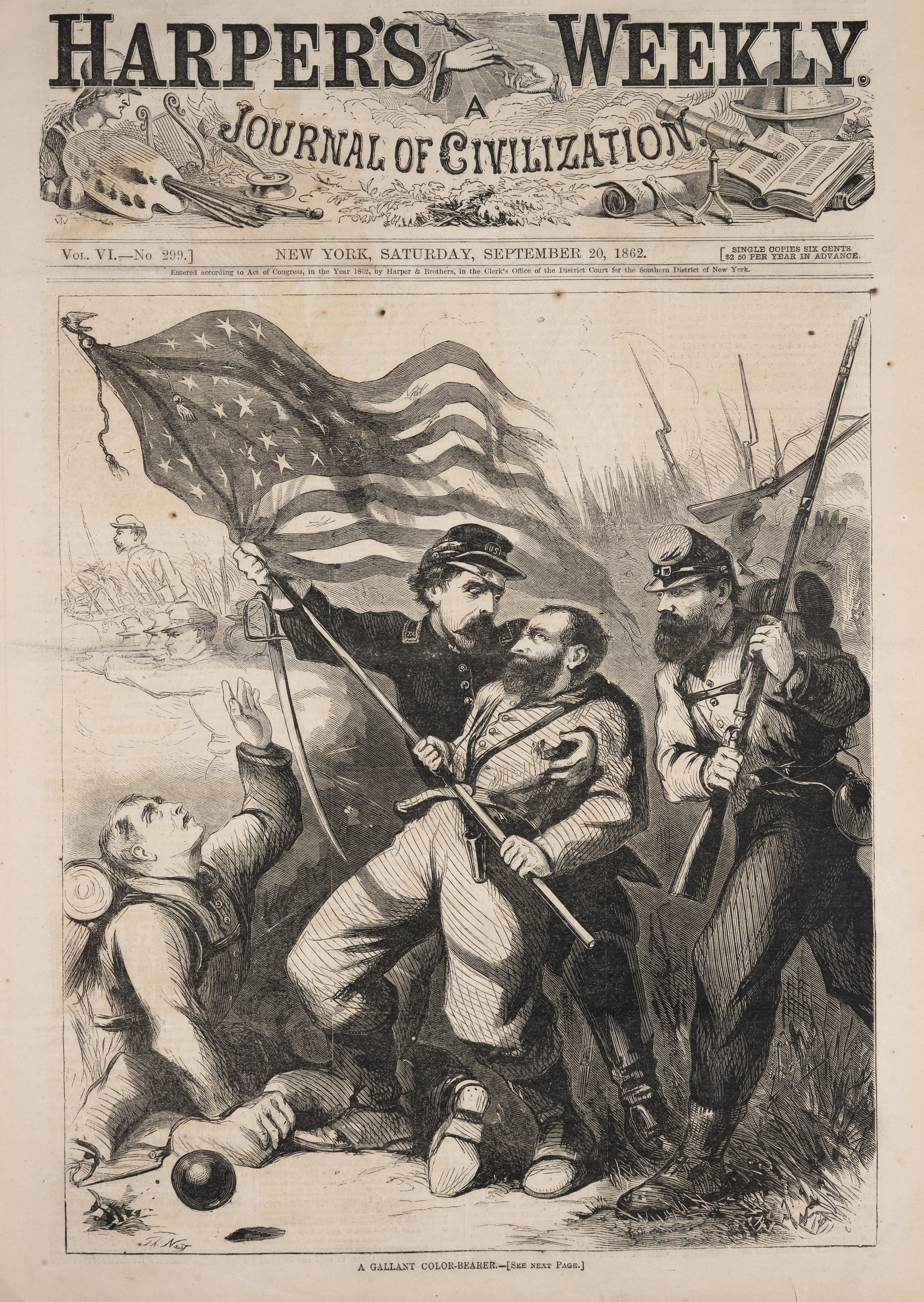"""""""A Gallant Color-Bearer"""" depicts the 10th New York Regiment engaged in battle with Confederate soldiers. In this black and white engraving, a standing Union soldier catches in his arms the wounded color-bearer who is falling backwards while the unwounded soldier reaches for the American flag to prevent it from falling to the ground. On the left, a kneeling soldier looks up and reaches to break the flag's fall. This engraving pays homage to the service and sacrifices made by Union soldiers, and the dedication to the flag that they served."""