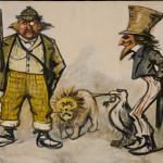 This original Thomas Nast painting depicts Brother Jonathan, represented here by Uncle Sam and the American Eagle in bold profile, and Sorrowful John, represented by the somewhat unkempt John Bull of the UK and the English Lion. The eagle is tugging the tail of the lion, no larger than a dog, as Uncle Sam looks on with a smirk. This piece asserts the U.S. as a strong economic and political world power, who should not be thought of lightly by England.